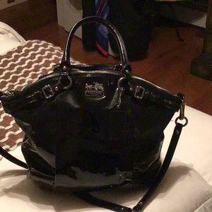 Black patent Coach satchel